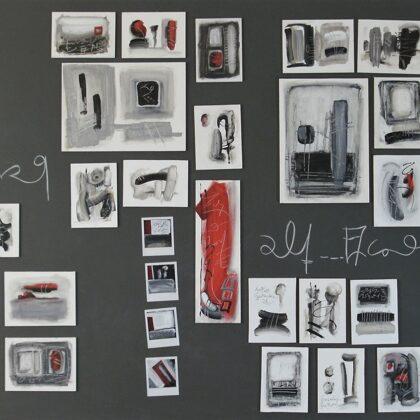 Indizi, 2010, acrilico su telette/calamita su lavagna magnetica, 120x210