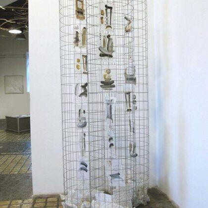 Scarti di memoria, 2012 - olio su poliestere, rete zincata - 60x220