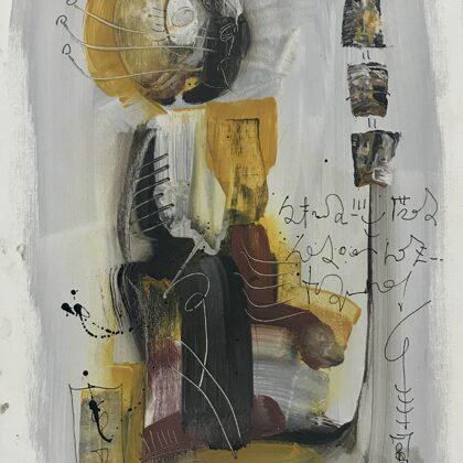 In meditazione, 2014, tecnica mista su tela, 60x40