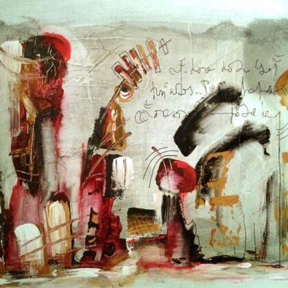 Lo scoglio dell'eremita, 2013, tecnica mista su tela, 30x40