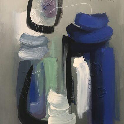 Nella stanza blu, 2018, tecnica mista su tela, 80x60