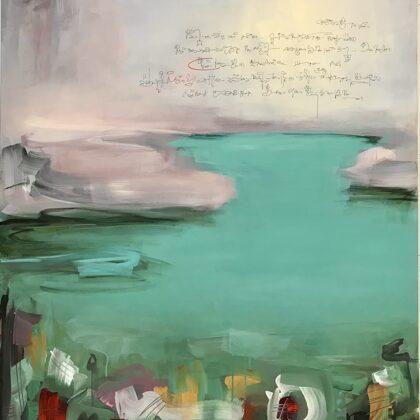 Dialogo con l'acqua, tecnica mista su tela, 120x100cm